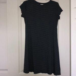 Green and blue striped T-shirt dress